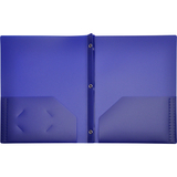 LION 2-Pocket Plastic Folders with Fasteners, Dark Blue, Price/EACH