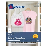 "Avery Light T-Shirt Transfer, Letter - 8.5"" x 11"" - Matte - 6 / Pack - White, Price/PK"
