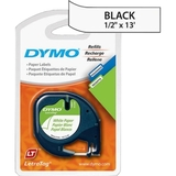"Dymo LetraTag 10697 Paper Tape, 0.5"" x 13' - 2 x Roll - Black, White, Price/PK"