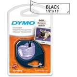 "Dymo LetraTag 16952 Printer Tape Cassette, 0.5"" x 12.8ft - 1 x Roll - Clear, Black, Price/EA"