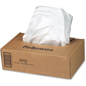 Fellowes - Shredder Waste Bag, 20 gal - 100 / Carton - Clear, Price/CT