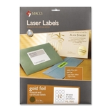 "Maco Round Foil Laser Label, Round - 2.5"" Diameter - Golden, Price/PK"
