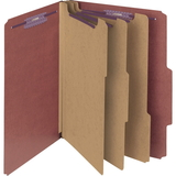 "Smead Straight-Line Colored Classification Folder, Letter - 8.5"" x 11"" - 2/5 Tab Cut on Right - 3 Dividers - 3"" Expansion - 2 Fastener - 1"" Capacity - 10 / Box - 25pt. - Red, Price/BX"