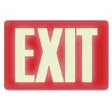 "U.S. Stamp & Sign Glow in the Dark EXIT Sign, ""Exit"" Preprinted - 12"" x 8"" - Red, Price/EA"
