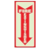 "U.S. Stamp & Sign Glow Fire Extinguisher Sign, ""Fire Extinguisher"" Preprinted - 4"" x 13"" - Red, Price/EA"