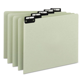 Green Recycled Top Tab Guides, Alpha, 1/5 Tab, Pressboard, Letter, 25/Set, Price/ST